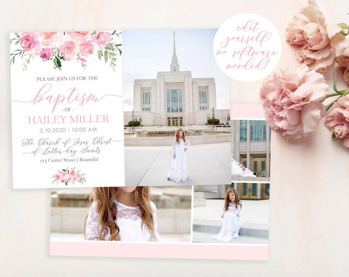 LDS Baptism Invitation Girl | Floral Baptism Invitation | Baptism Invitation Digital | Baptism Invite | LDS Baptism Announcement | Corjl