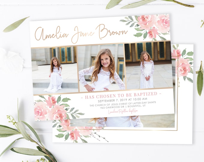 LDS Baptism Invitation - Baptism Invitation Girl Template - Girl Floral Baptism Invitation - Baptism Invitation Digital - Baptism Invite