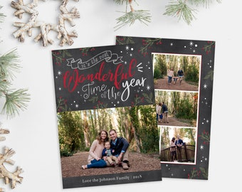 Christmas Card Template - It's the Most Wonderful Time of the Year - Photo Christmas Template - Photographer Template - Digital Design