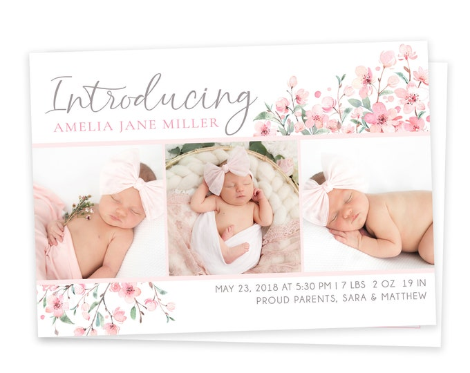 Girl Floral Birth Announcement Template - Girl Baby Announcement - Introducing Baby - Newborn Template for Photoshop - Photographer Template