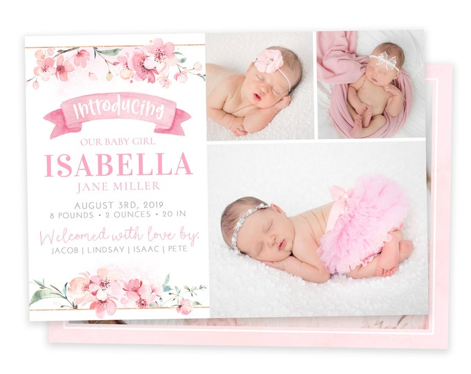 Floral Birth Announcement Template - Girl Baby Announcement - Newborn Template for Photoshop - Photographer Template