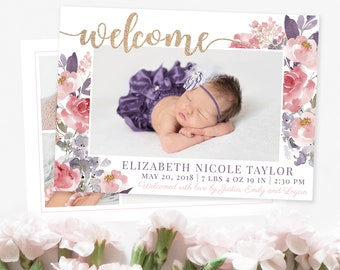 welcome baby girl floral birth announcement template girl etsy