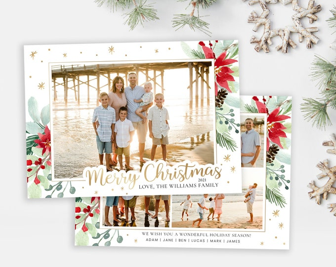 Christmas Card Template | Christmas Cards Template 5x7 | Photo Christmas Card | Editable Christmas Card | Holiday Card Templates | Photoshop