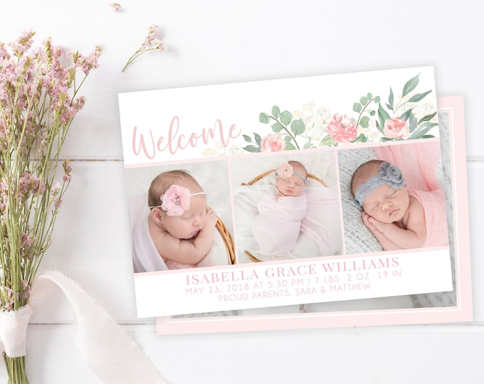 Welcome Baby Girl Floral Birth Announcement Template - Girl Baby Announcement - Newborn Template for Photoshop - Photographer Template