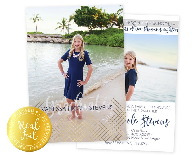 Foil Pressed Graduation Announcement - Graduation Announcement  - Graduate Senior Grad Card - 5x7 Grad Card