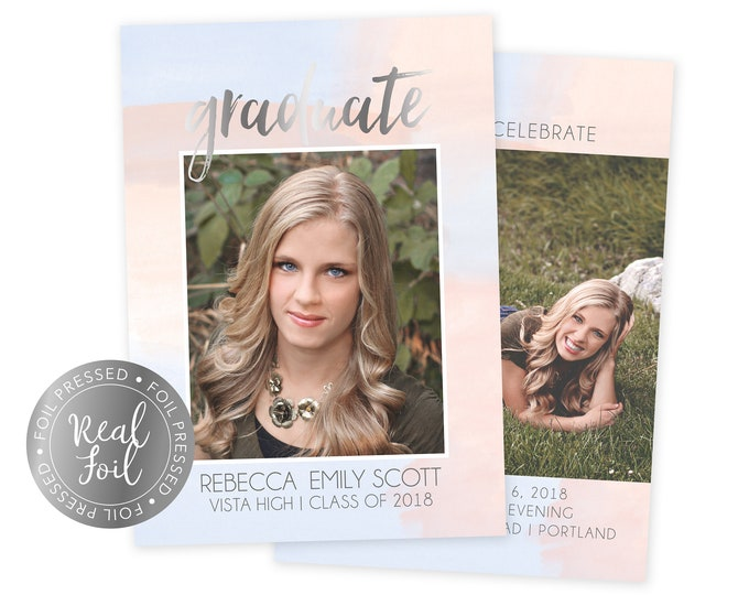 Foil Pressed Graduation Announcement - Graduation Invitation Press Printed Cards  - Class of 2018 Senior Grad Card - 5x7 Grad Card