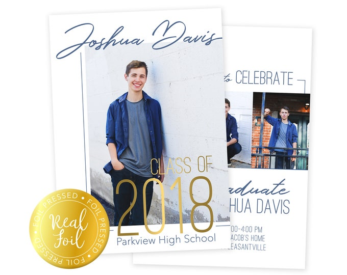 Foil Pressed Graduation Announcement - Graduation Announcement Press Printed Cards  - Class of 2018 Senior Grad Card - 5x7 Grad Card