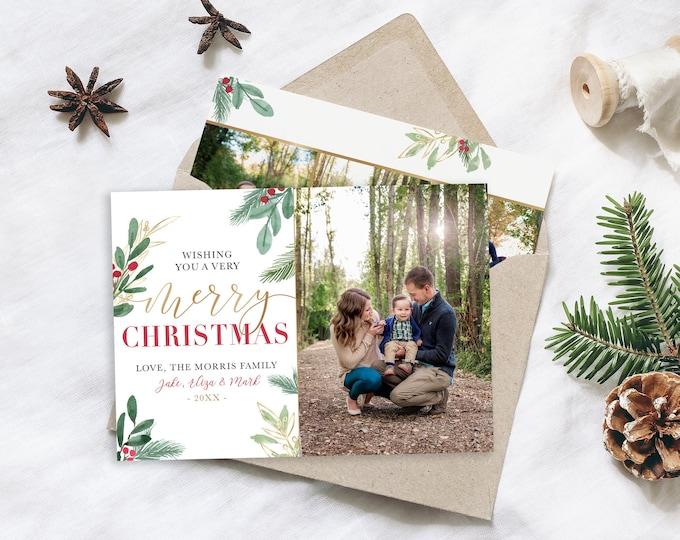MERRY Christmas Card Template | 5x7 Photo Christmas Card | Editable Christmas Card | Holiday Card Templates  Photoshop