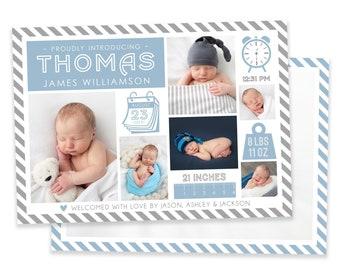 Boy Birth Announcement Template - Newborn Announcement - Boy Birth Announcement - Newborn Template for Photoshop - Photographer Template