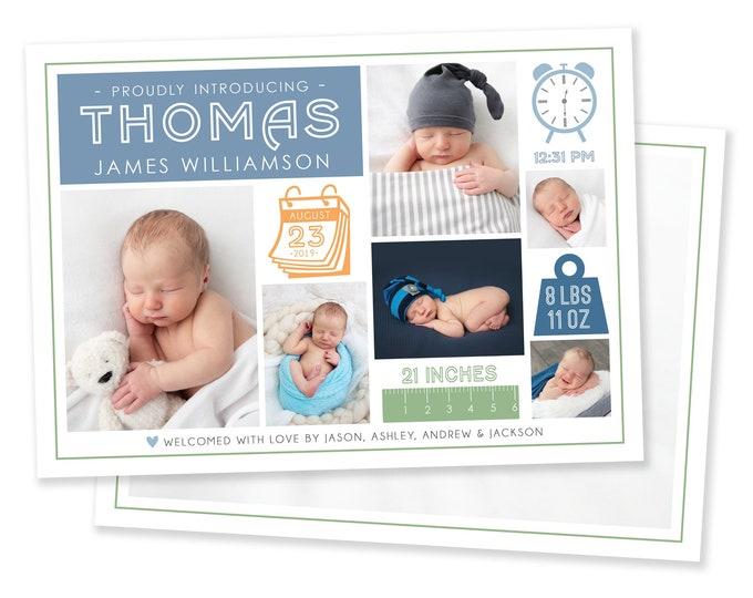 Boy Birth Announcement Template - Newborn Announcement - Boy Birth Announcement - Newborn Template for Photoshop - Newborn Birth Card
