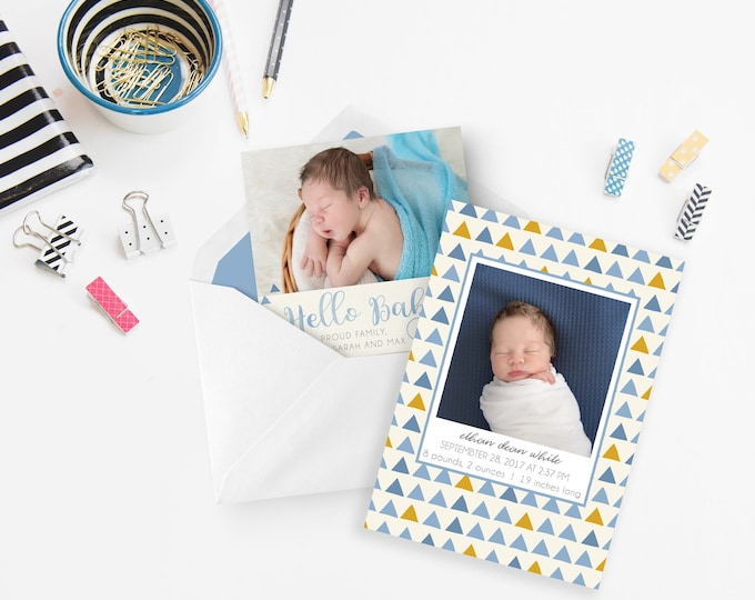 Boy Birth Announcement Template - Newborn Announcement - Boy Birth Announcement - Newborn Template for Photoshop - Photographer Template