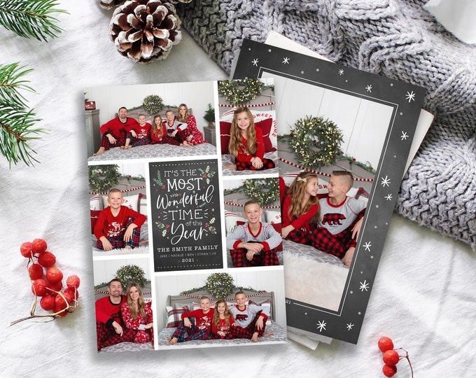 Christmas Card Template | Christmas Cards Template 5x7 | Instant Download | Editable Christmas Card | Chalk Wonderful Time | Photoshop