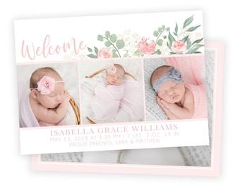 Birth Announcement | Birth Announcement Card | Digital Birth Announcement | Birth Announcement Template | Girl Birth Announcement