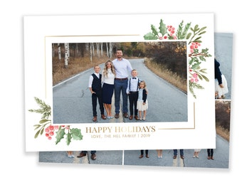 Christmas Card Template - Happy Holidays Card Template - Photo Card Template - Gold and Holly Christmas Card - Editable Christmas Card