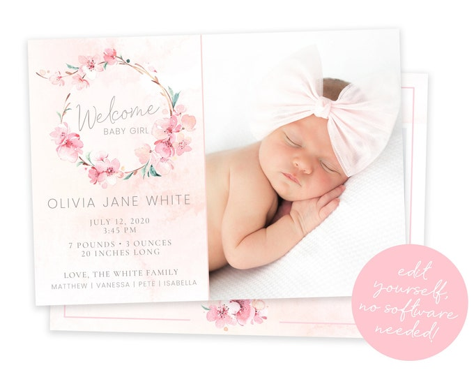 Baby Birth Announcement Template Girl - Newborn Announcement - Girl Birth Announcement - Photo Birth Announcement - DIY Template - Corjl