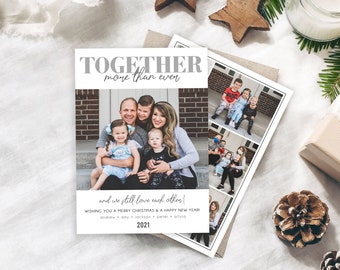 Covid Christmas Card Template | Together More Than Ever | 2021 Christmas Card Template 5x7 | Holiday Card Templates | Photoshop