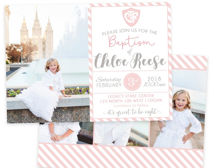 LDS Baptism Invitation - Baptism Invitation - Girl Baptism Invitation - Photographer Template