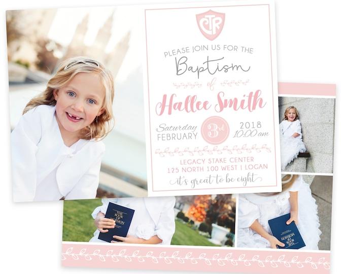 LDS Baptism Invitation - Floral Baptism Invitation - Girl Baptism Invitation - Photographer Template