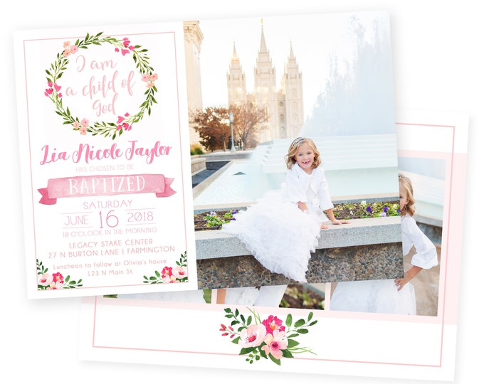 LDS Baptism Invitation Girl | Baptism Invitation | LDS Baptism Invitation | Girl Baptism Invitations Digital | Baptism Announcement
