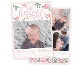 Hello World Floral Birth Announcement Template - Newborn Announcement - Girl Baby Announcement - Photographer Template