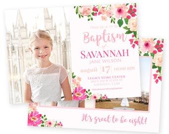 LDS Baptism Invitation - Baptism Invitation - Floral Girl Baptism Invitation - Photographer Template