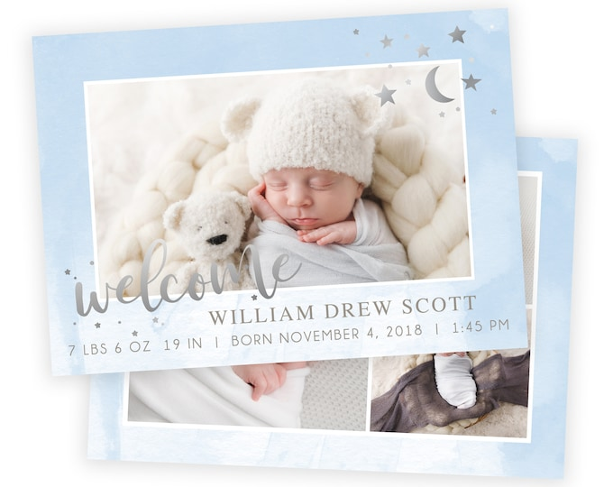 Welcome Birth Announcement | Birth Announcement Card | Digital Birth Announcement | Birth Announcement Template | Boy Birth Template