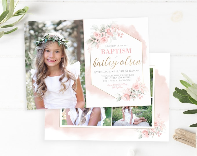 LDS Baptism Invitation - Baptism Invitation Girl Template - Girl Floral Baptism Invitation - Baptism Invitation Digital - Photoshop Invite