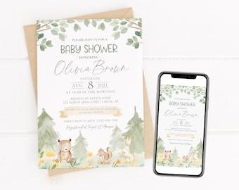 Woodland Baby Shower Invitation | Editable Baby Shower Invite | Woodland Animals Baby Shower | Gender Neutral Baby Shower | Corjl