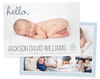 Boy Birth Announcement Template - Newborn Announcement- Hello Boy Birth Announcement - Newborn Template for Photoshop - Baby Announcement