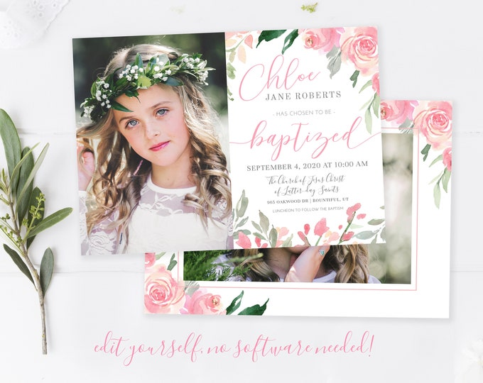 LDS Floral  Baptism Invitation Girl | Baptism Invitation | LDS Baptism  Invitation Girl | Baptism Invitations | LDS Girl Baptism | Corjl