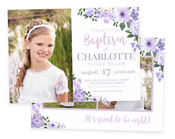LDS Baptism Invitation | LDS Lavender Baptism Invitation Girl | Purple Baptism Invitation | LDS Baptism | Baptism Template Girl