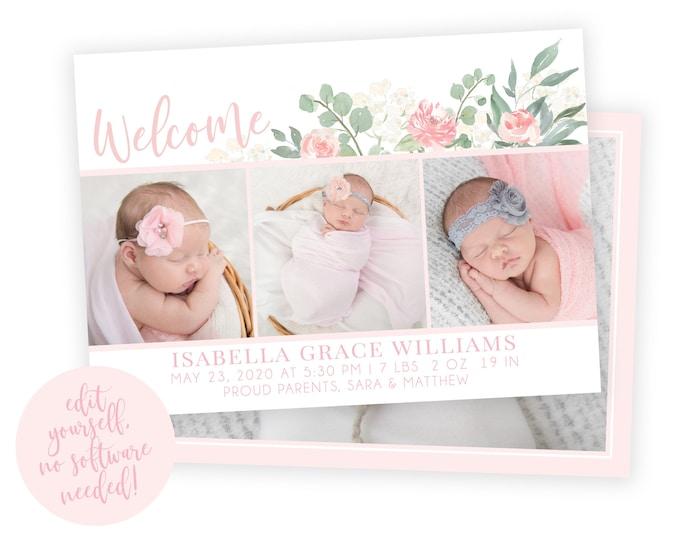 Baby Birth Announcement Template Girl - Newborn Announcement - Girl Birth Announcement - Photo Birth Announcement - DIY Template - Corjl