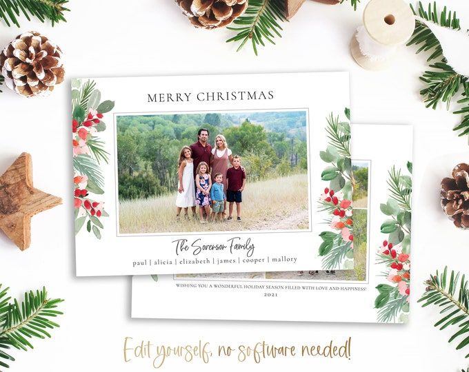 Christmas Card Template   Christmas Cards Template 5x7   Photo Christmas Card   Editable Christmas Card   Holiday Card Templates   Corjl