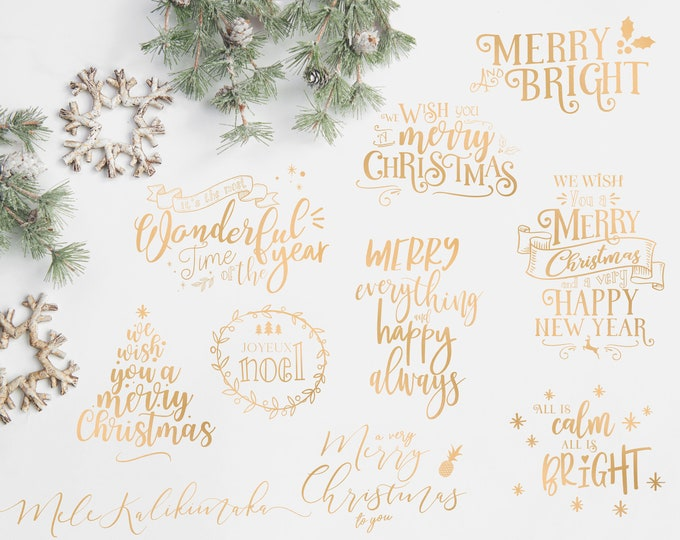 Christmas Overlays - Holiday Word Art - Overlays for Photographers - Christmas Word Art - Gold Overlays