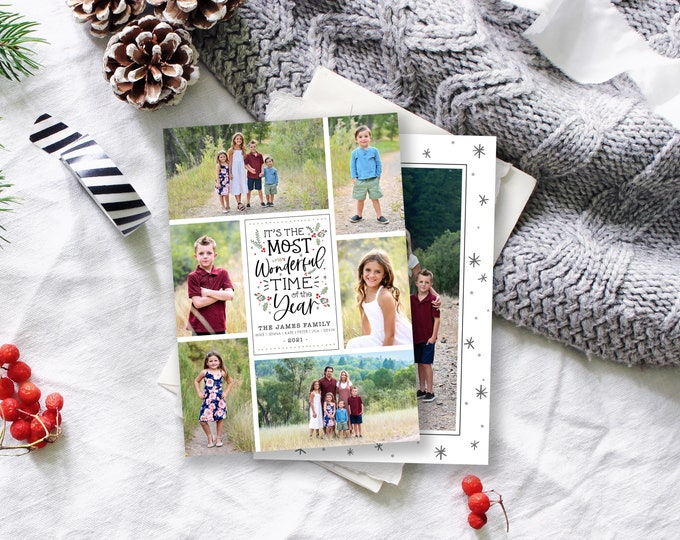 Christmas Card Template | Christmas Cards Template 5x7 | Photo Holiday Card | Editable Christmas Card | Instant Download | Photoshop