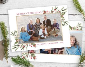 Christmas Card Template - Floral Watercolor Christmas - Christmas Template for Photoshop - Photographer Template - Digital Design