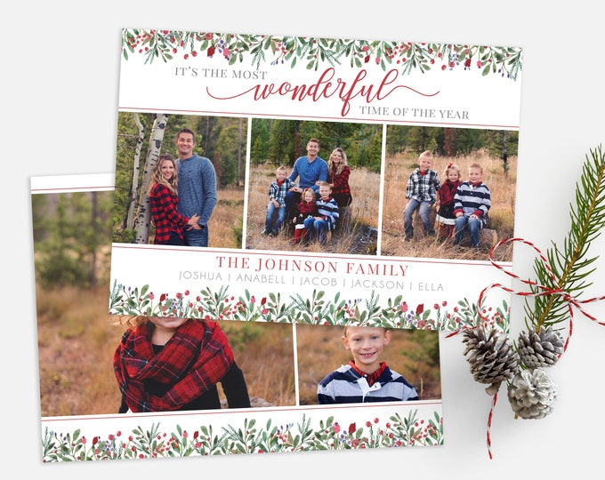 Christmas Card Template - Most Wonderful Time of the Year - Christmas Template for Photoshop - Photographer Template - Digital Design