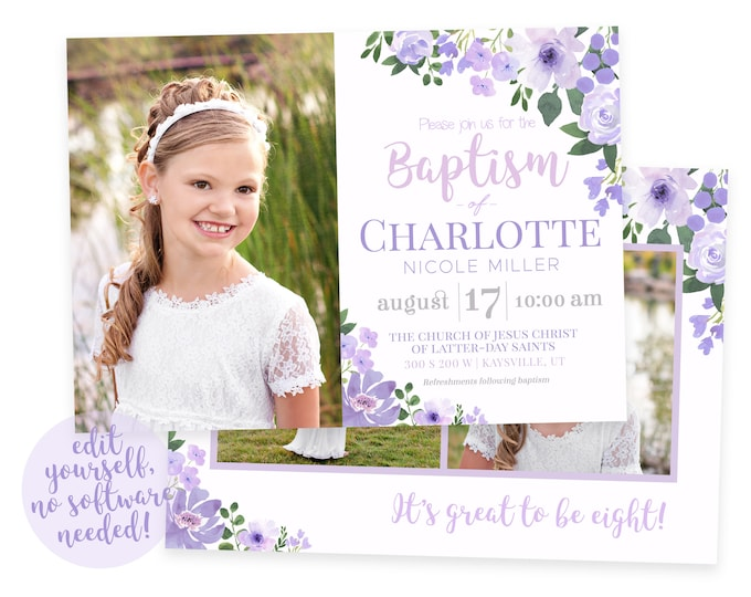 LDS Baptism Invitation Girl | Floral Baptism Invitation | Baptism Invitation Digital | Baptism Invitation | LDS Baptism Announcement | Corjl