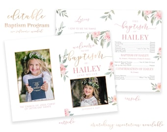 Baptism Program Girl - LDS Baptism Program - Editable Baptism Program - Floral Program Instant Download - Baptism Program Template - Corjl