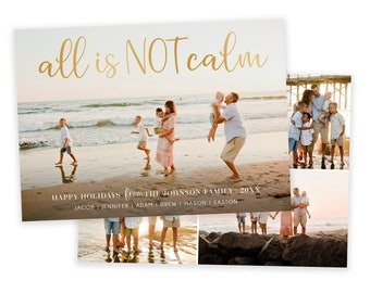 All is NOT Calm Christmas Card Template | Christmas Cards Template 5x7 | Editable Photo Christmas Card | Holiday Card Templates | Photoshop