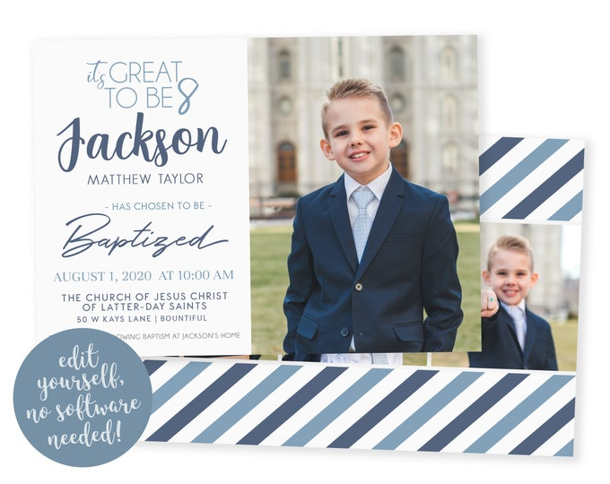 LDS Baptism Invitation Boy | Baptism Invitation | LDS Baptism Invitation | Boy Baptism Invitations Digital | Baptism Announcement | Corjl