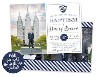 LDS Baptism Invitation Boy | Baptism Invitation | LDS Baptism Invitation | Boy Baptism Invitations Digital | Baptism Announcement | Corjl
