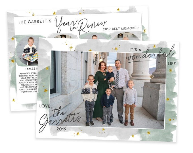Christmas Card Template - It's a Wonderful Life - Year in Review - Holiday Card Template - Photo Card Template