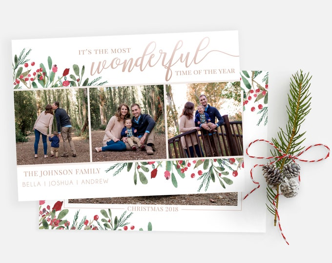 Christmas Card Template - Most Wonderful Time of the Year - Photo Christmas Template for Photoshop - Photographer Template - Digital Design
