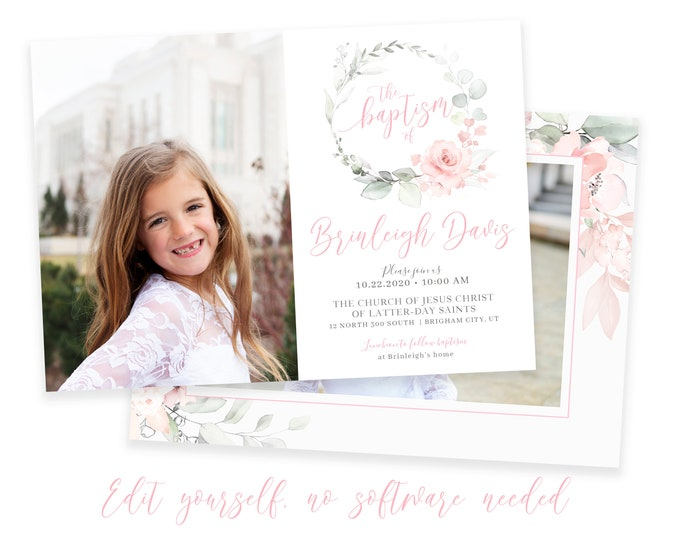 LDS Baptism Invitation | LDS Baptism Invitation Girl | Baptism Invitation | LDS Baptism | Baptism Invitations Girl | Corjl