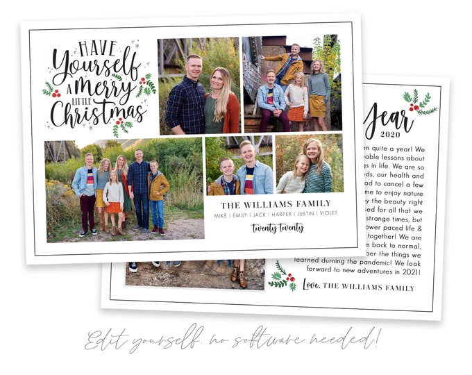 Year in Review Christmas Card Template | Christmas Cards Template 5x7 | Editable Photo Christmas Card | Holiday Card Templates | Corjl