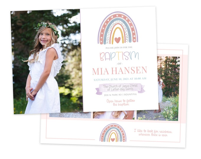 LDS Baptism Invitation | LDS Rainbow Invitation Girl | Baptism Invitation | LDS Baptism | Baptism Invitations Girl | Rainbow | Photoshop