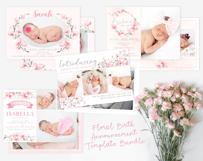 Girl Floral Birth Announcement Template Bundle - Girl Baby Announcement Pack - Newborn Template for Photoshop - Photographer Template