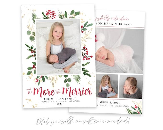 Christmas Birth Announcement | The More The Merrier Christmas Card | Birth Announcement Template | Holiday Birth Announcement | Corjl