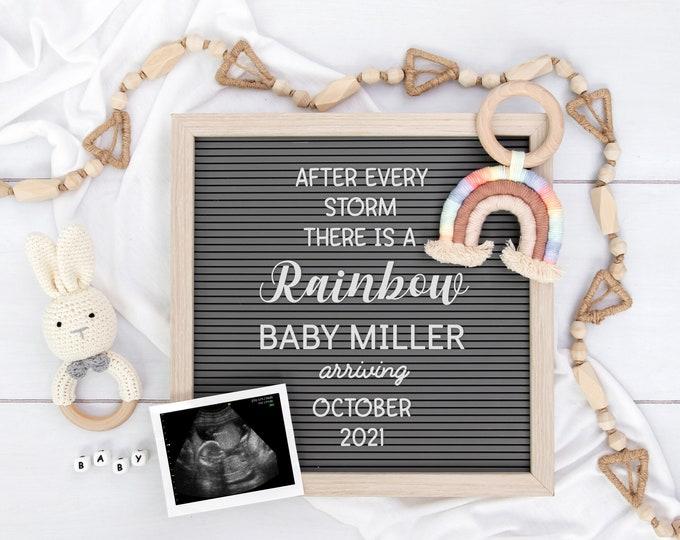 Rainbow Baby Digital Pregnancy Announcement | Gender Neutral | Editable Letter Board for Social Media | Digital Baby Reveal | Corjl